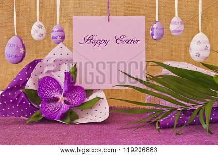 Still Life Easter Eggs And A Leaf With The Inscription Happy Easter
