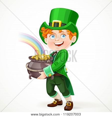 Cute Boy In A Leprechaun Suit With Pot Full Of Gold Isolated On White Background