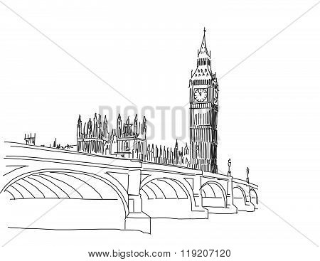 Hand Drawn Popular View Big Ben And Westminster Bridge Outline Sketch