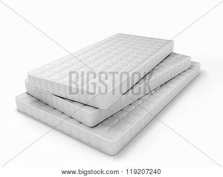 Stack Of Mattresses Of Various Sizes Isolated On White Background