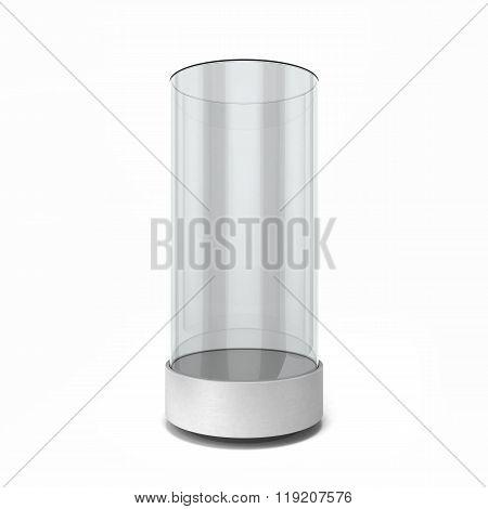 Round Empty White Showcase Isolated On White Background
