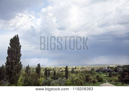 storm clouds in rural area
