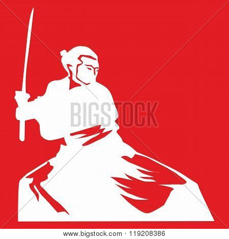 Silhouette of a samurai with a sword