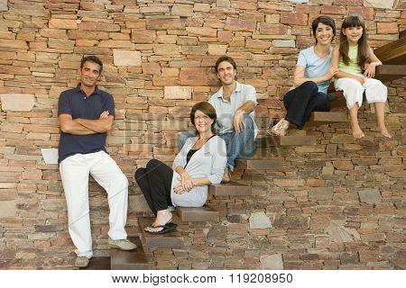 Family on steps