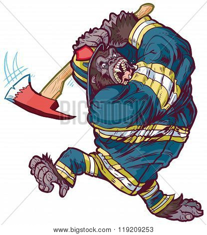 Angry Cartoon Gorilla Firefighter Swinging Fire Axe