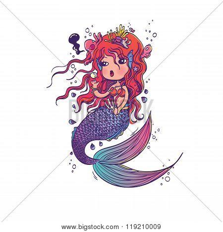 Doodle Mermaid Under the Sea Cartoon Character