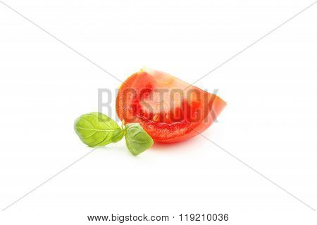 Tomatoes And Basil Leaves Isolated On White