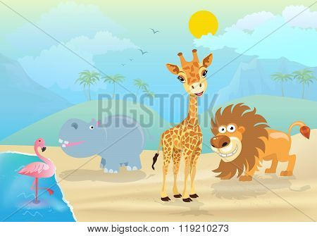 vector illustration of cute jungle  animals and plants