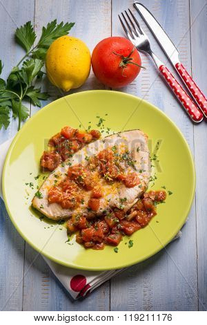 swordfish with fresh tomatoes and grated lemon peel