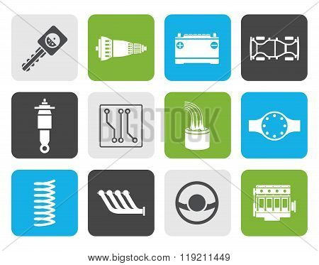 Flat Realistic Car Parts and Services icons