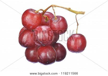 Delicious Bunch Red Seedless Crimson Grape Isolated On White