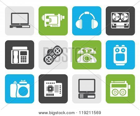 Flat electronics, media and technical equipment icons