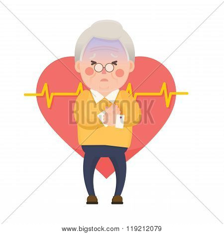 Old Man Heart Attack, Chest Pain Cartoon Character