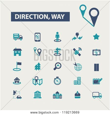 direction icons, way, map, location, route icons
