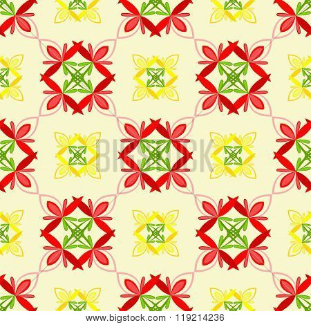 Seamless pattern of decorative flowers saturated colors