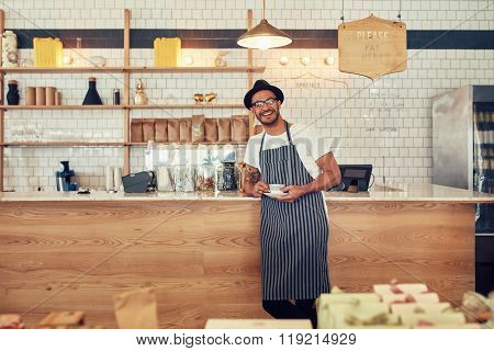 Happy Young Coffee Shop Owner