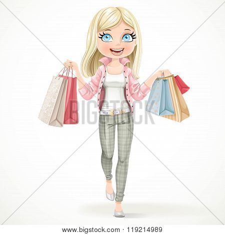 Cute Blond Shopaholic Girl Goes With Paper Bags In Hands Isolate