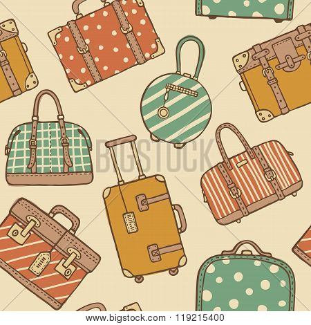 Seamless Pattern With Hand Drawn Vintage Travel Bags And Suitcases