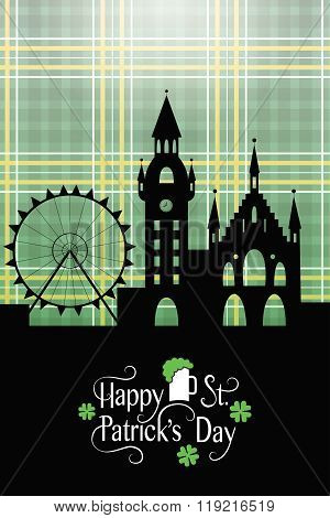 St. Patrick's Day Card With Irish Landscape And Typography