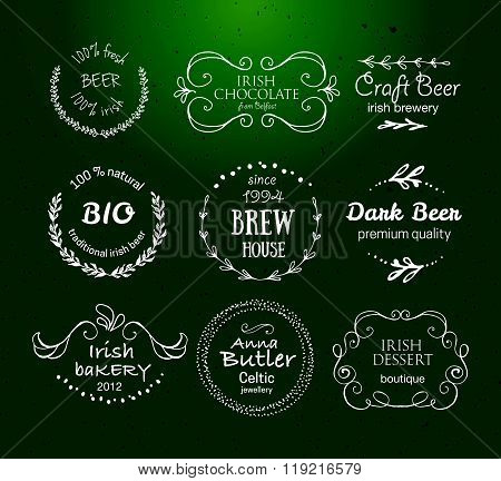 Vector Collection Of Irish Hand Drawn Logo Templates