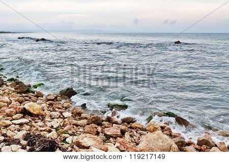 Rocky Coast And Stormy Sea In Catalonia