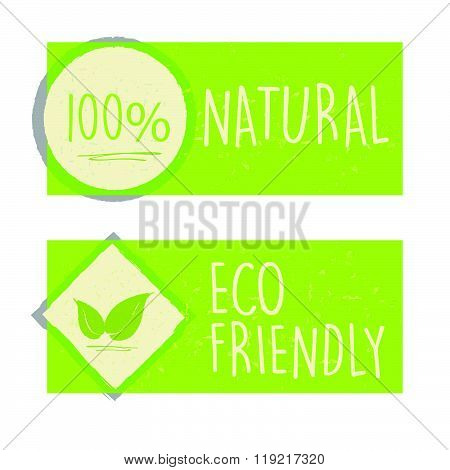 100 percent natural and eco friendly with leaf sign in green banners, vector