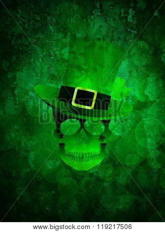 St Patricks Day Skull Grunge Background