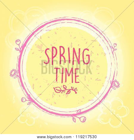 spring time in circle with flowers, old paper background, vector