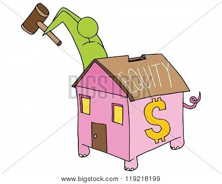 An image of a man breaking open his home equity piggy bank.