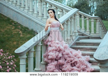 Queen Stood On Stairs Of The Castle.