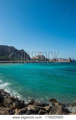 Beach side monument at Muscat, Oman.