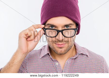 Close Up Photo Of Handsome Man In Violet Cap Touching Glasses