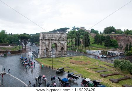 View Of The Coliseum Square During A Rainy Day
