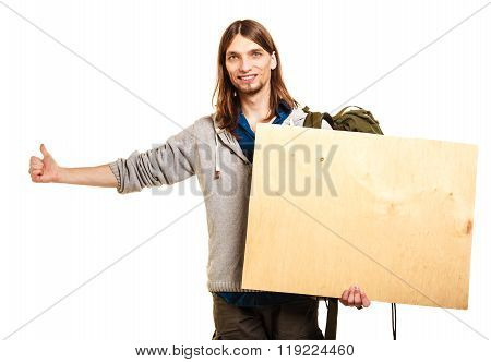 Man Hiker Backpacker With Blank Wood Copy Space Ad