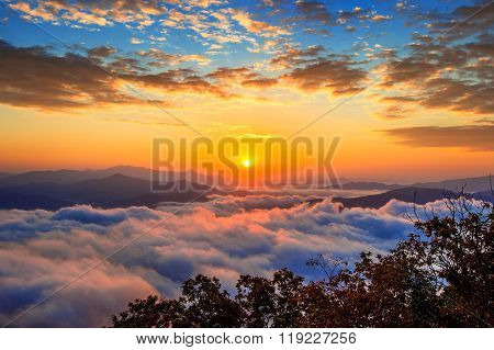 Seoraksan mountains is covered by morning fog and sunrise in Seoul,Korea.