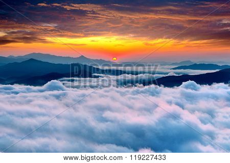 Seoraksan Mountains Is Covered By Morning Fog And Sunrise In Korea.