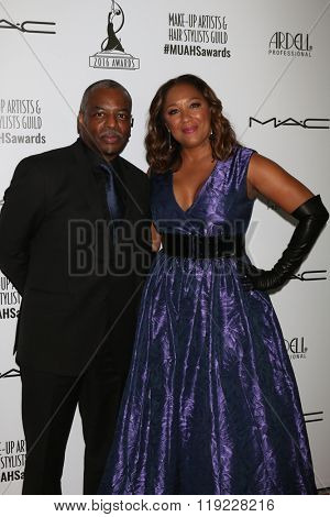 LOS ANGELES - FEB 20:  Levar Burton, Stephanie Cozart Burton at the Make-Up Artists And Hair Stylists Guild Awards at the Paramount Studios on February 20, 2016 in Los Angeles, CA