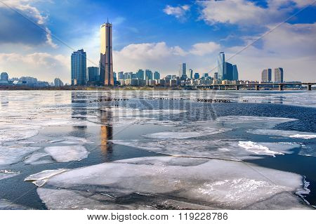 Ice Of Han River And Cityscape In Winter,seoul In South Korea.