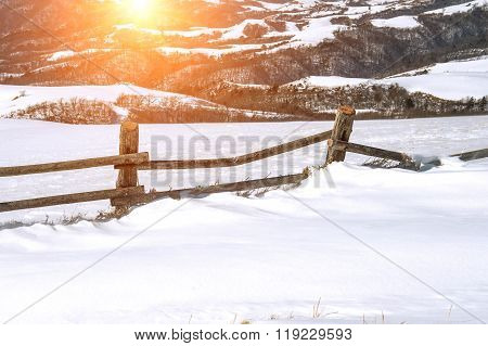 Fresh Snow Cover And Sun Light,winter Background.