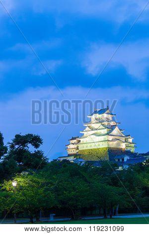 Himeji Jo Castle Trees Blue Hour Dusk Sky V