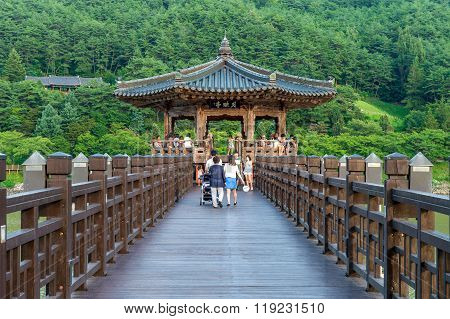 Wolyeonggyo Bridge and Tourists. Wolyeonggyo Bridge Located on Andong in Korea.