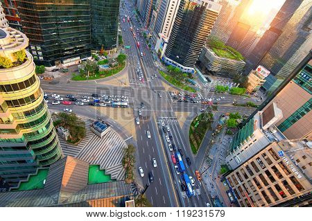 Traffic speeds through an intersection in Gangnam.Gangnam is an affluent district of Seoul.