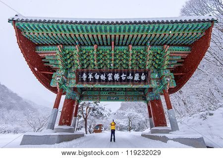 Professional Photographer Takes Photos With Camera At Gate Of Baekyangsa Temple And Falling Snow, Na