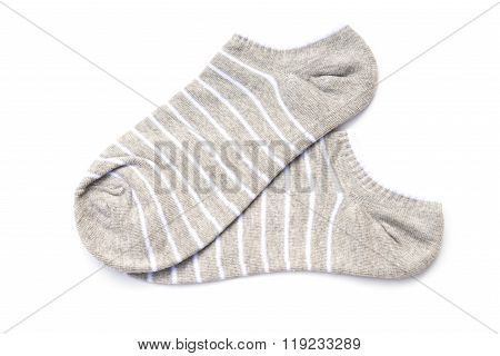 White Stripes Socks On A White Background