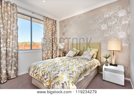 Modern Bedroom With A Master Bed And Light Brown Color Curtain Decorations Of A Luxury House