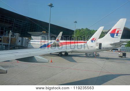 Malaysia Airlines aircrafts at the Kuala Lumpur International Airport Sepang (KLIA).
