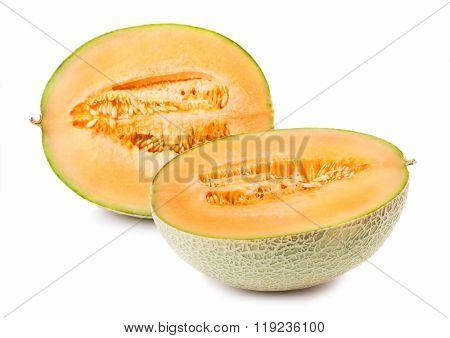 Two halves of cantaloupe on white background