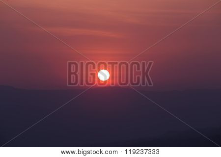 Sunset With Mountain, View From Pha Keb Tawan,  Thailand