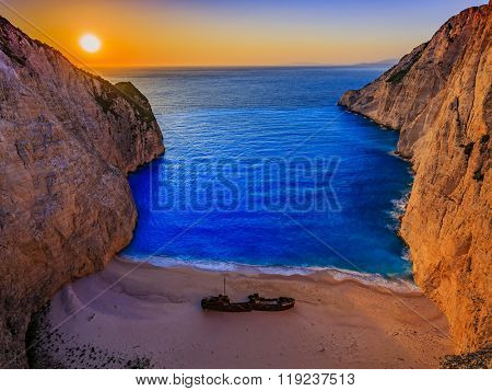 Idyllic sunset view of Navagio Beach on Zakynthos Island in Greece