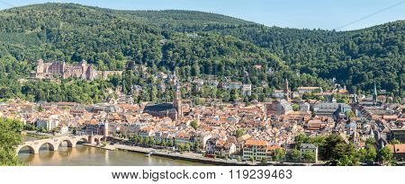 Panoramic View on Heidelberg at summer, Germany